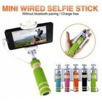Mini Wired Smartphone Selfie Stick Stainless Steel Blue Groove Design