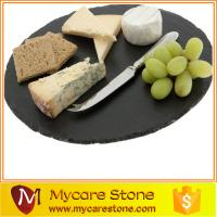 Wholesale 2015 fashion design round black slate cheese board from china suppliers