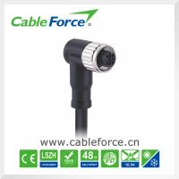 Wholesale Waterproof connector 60V 4A M12 5pin female B-Coding right angled  molded with cable plug CNC screw from china suppliers