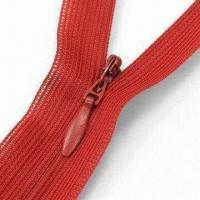 Buy cheap Smoothly Operable Invisible Zipper with Water Drop Slider, Made of Taiwan Raw Material from wholesalers