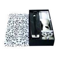 Wholesale Black / White Oil Burner Gift Sets Ceramic Aroma Oil Burner With Towel / Bamboo Mat from china suppliers