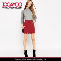 Wholesale Ladies Vintage Skirt Pattern Wine Red A-Line Mini Skirt with Scallop Hem from china suppliers