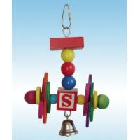 Wholesale wooden bird toy made with safely dyed wood and bell for added stimulations from china suppliers