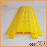 Quality 2 Ways Floor Cable Protector Ramp Light Duty Plastic Yellow Jacket Cord Cover for sale