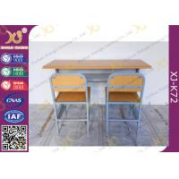 Wholesale Customized Size Double Student Desk And Chair Set For School Kids with Plywood + Steel Material from china suppliers