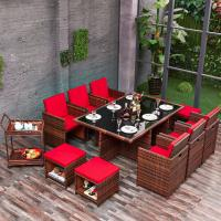Wholesale Latest unique rattan coffee shop house bar furniture set with 10 seater tables stool for garden / garden / Villa from china suppliers