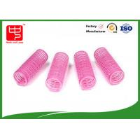 Wholesale Diameter 22mm lovely pink hook and loop Hair Rollers hook and loop with plastic core from china suppliers