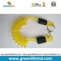 Wholesale Transparent Yellow Color Strong Coiled Cable Tool Lanyard w/Split Ring 2pcs from china suppliers