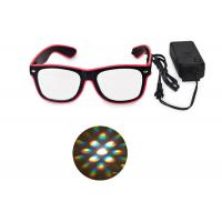 Wholesale El Wire Glow Led DJ Bright Light Safety Light Up LED flashing Diffraction glasses from china suppliers