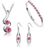 Buy cheap Crystal Necklace Earrings Bracelet 3 PCS Jewelry Accessories Set from wholesalers