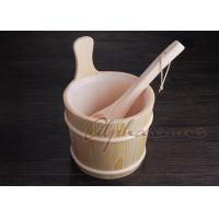 Quality Lacquered foot bath wood bucket With Ladle For Turkish Sauna Bath Enjoyment for sale