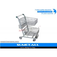Wholesale Metal Double Basket Shopping Cart , 2 Basket Shopping Trolley For Supermarket from china suppliers