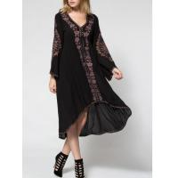 Wholesale Balck Lunging Neckline Dress With Embroidered Flowers , High Low Floral Embroidered Dress from china suppliers