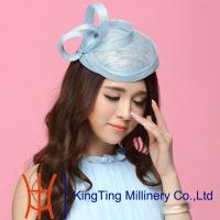 Wholesale Elegant Sky Blue Ladies Fascinators With Sinamay Hat Base from china suppliers