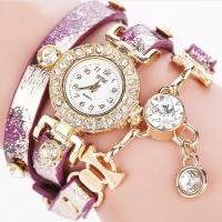 Wholesale Newest design Long Strap Diamond Chain Fashion Lady Leather Bracelet Watches from china suppliers