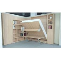 Wholesale Modern Design Vertical Open Double Wall Bed with Table and Bookshelf Natural Color from china suppliers