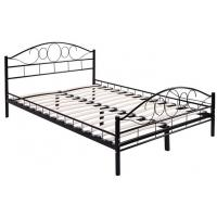 Wholesale Durable black Metal Frame Bed / Steel Frame Bed With Wood Slat Contemporary Bedroom Furniture from china suppliers