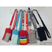 Wholesale Polyester knit mobile phone pouch lanyard, custom knitted phone bag holder lanyards, from china suppliers