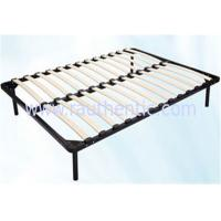 Wholesale Hot sale 1.5m * 1.8m black metal frame bed with Durable wood slat stable structure from china suppliers