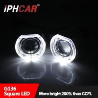 Quality Hid Car/Motorcycle Projector Lens LED Halo Ring Projector Square Lens Light 35W 12V Auto lighting for sale