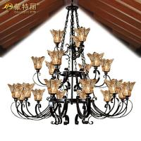 Wholesale Vintage Amber Drawbench Glass Wrought Iron Large Hotel Chandeliers for Dining room from china suppliers