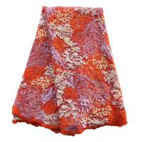Buy cheap Natural style embroidered big lace fabric multi-color lace beaded fabric for girl dress from wholesalers