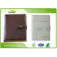 Wholesale Custom Office Stationery Brown Faux PU Loose Leaf Notebook A5 With Ribbon / Pocket from china suppliers