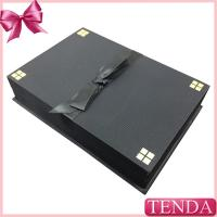 Wholesale Unique Black Wooden Leather Leatherette Covered Velvet Lining Pendant Necklace Jewelry Set Boxes with Bowtie from china suppliers