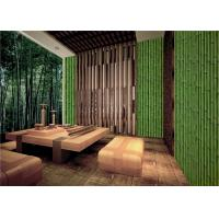 Wholesale Bamboo Embossed Peelable Durable Velvet Flock Wallpaper Green / Yellow from china suppliers