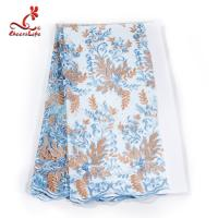 Wholesale French Luxury Embroidered Lace Fabric / Dress Voile Tulle Lace Fabric Flowers Decoration from china suppliers
