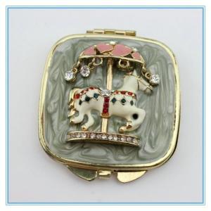 Wholesale Handmade fairground ride apparatus diamond metal pocket mirrors from china suppliers