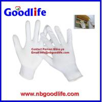 Quality 100% White Nylon Glove With PU / High Quality Nylon PU Glove for sale