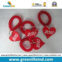 Wholesale Promotional Solid Red Wrist Coil Strap W/Heart Number Tag from china suppliers