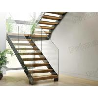 Wholesale prefabricated stairs glass railing wood tread staricase with double  beam stringer from china suppliers