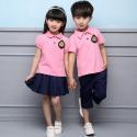 Summer Cotton Fabric Kindergarten Primary School Uniform / Kid Pink Polo Shirts for sale