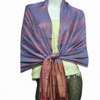 Wholesale Ladies Fashionable Long Jacquard Shawl, Various Colors and Styles are Available from china suppliers
