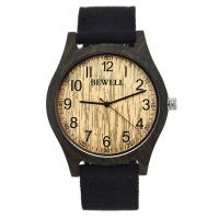 Wholesale Eco - Friendly Black Mens Wooden Watch With Canvas Strap / Water Resistant Wood Watch from china suppliers