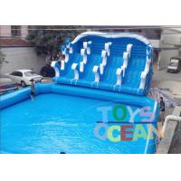 Wholesale Giant Blue Inflatable Play Park / Inflatable Theme Park With 4 Lanes Slide from china suppliers
