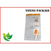 Quality Logo Printed Underwear Garment Packaging Bags With Hang Hole / Zipper Top for sale