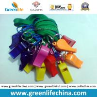 Wholesale High Quality Eco-friendly Plastic PS Colorful Whistles 5.6x1.8cm with Green Lanyard 45cm Length from china suppliers