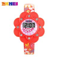 Wholesale Girl Red Sunflowers LCD Digital Watches SKMEI Silicone Bezel from china suppliers