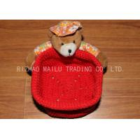 Wholesale Red Crochet Fruit Basket Flat Bottom Crochet Hanging Basket With Bears from china suppliers