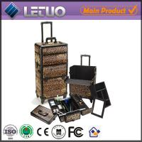 Quality leopard grain beauty cosmetic makeup trolley case professional cosmetic trolley cases for sale