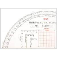 Quality Military Plastic Protractor Field Kit 1/25000, 1/50000 Half Moon Shaped 9 INCH Miles / Metres for sale