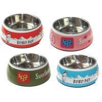 Wholesale Pet Washable Melamine & Stainless Steel Dog Cat Double Bowl Set Lightweight from china suppliers