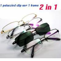 Wholesale Man′s Metal Half-Rim Eyewear Eyeglasses Frames With Polarized Magnetic Clip Ons Simglasses. from china suppliers