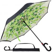 Wholesale Guangzhou Supplier OEM Double Layer Inner Print Auto Open Reverse Inverted Umbrella from china suppliers