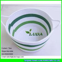 Wholesale LUDA fabric cotton cord woven baskets striped storage bin in home from china suppliers