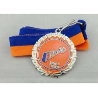 Wholesale Iron Ribbon Medals Die Stamp , Nickel Plating With Blue And Orange Ribbon from china suppliers