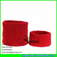 Wholesale LDKZ-033  Pure color storage basket hand knitted home storage basket large laundry basket from china suppliers